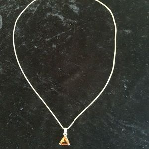 Jewelry - Sterling silver necklace with Amber crystal
